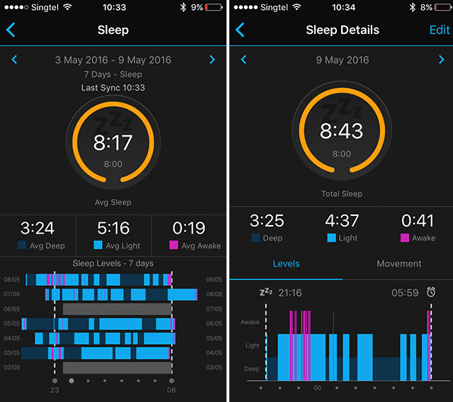 Sleep mode with Garmin