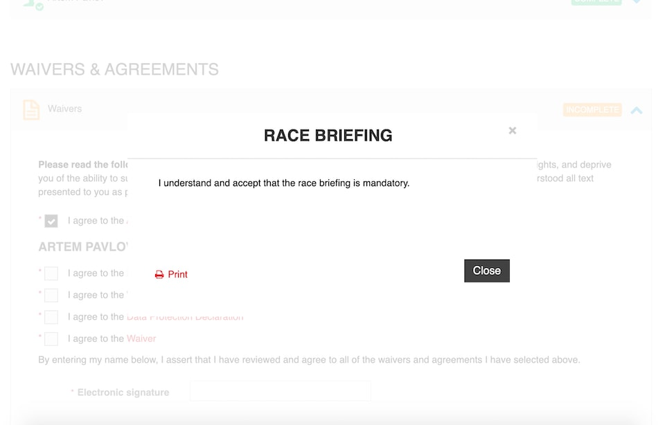 форма заполнения при регистрации на Ironman